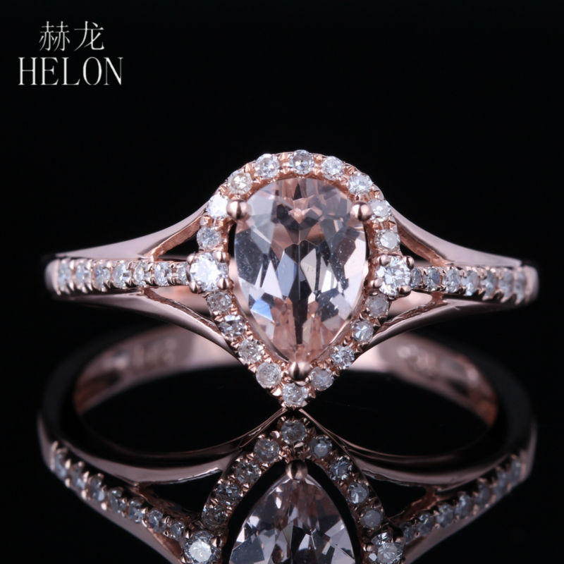 HELON Sparkled 5X7mm Pear Morganite Pave Natural Diamonds Engagement Ring 14K Rose Gold For Women's Fashion Jewelry Fine Ring solid 14k white gold rose gold natural diamonds 5x7mm pear morganite ring wedding engagement fine jewelry