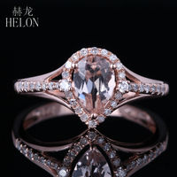 Helon сверкали 5x7 мм Груша Morganite Pave природных алмазов Обручение кольцо 14 К розовое золото для Для женщин Модные украшения изысканные кольца