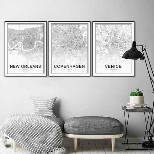Black White World City Map Poster Nordic Living Room London Oporto Wall Art Pictures Home Decor Canvas Painting