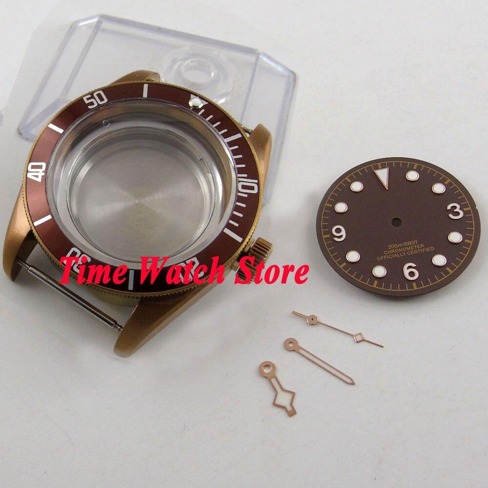 Boîtier de montre en verre saphir 41mm 20ATM café PVD pour mouvement ETA 2836 miborough avec cadran et aiguilles à café C103-in Montre Visages from Montres    1
