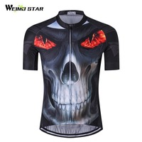 2017 Fire Skull 3D Men Cycling Jersey Bike Bicycle Short Sleeves Jersey Mountaion Clothing MTB Jersey