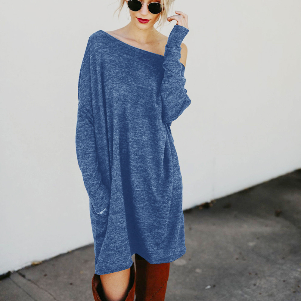 Women's Dresses 2018 New Arrival Spring O-Neck Knitted Sweater Dress Women Elegant Loose Summer Pullover Dress Sweater Jumper