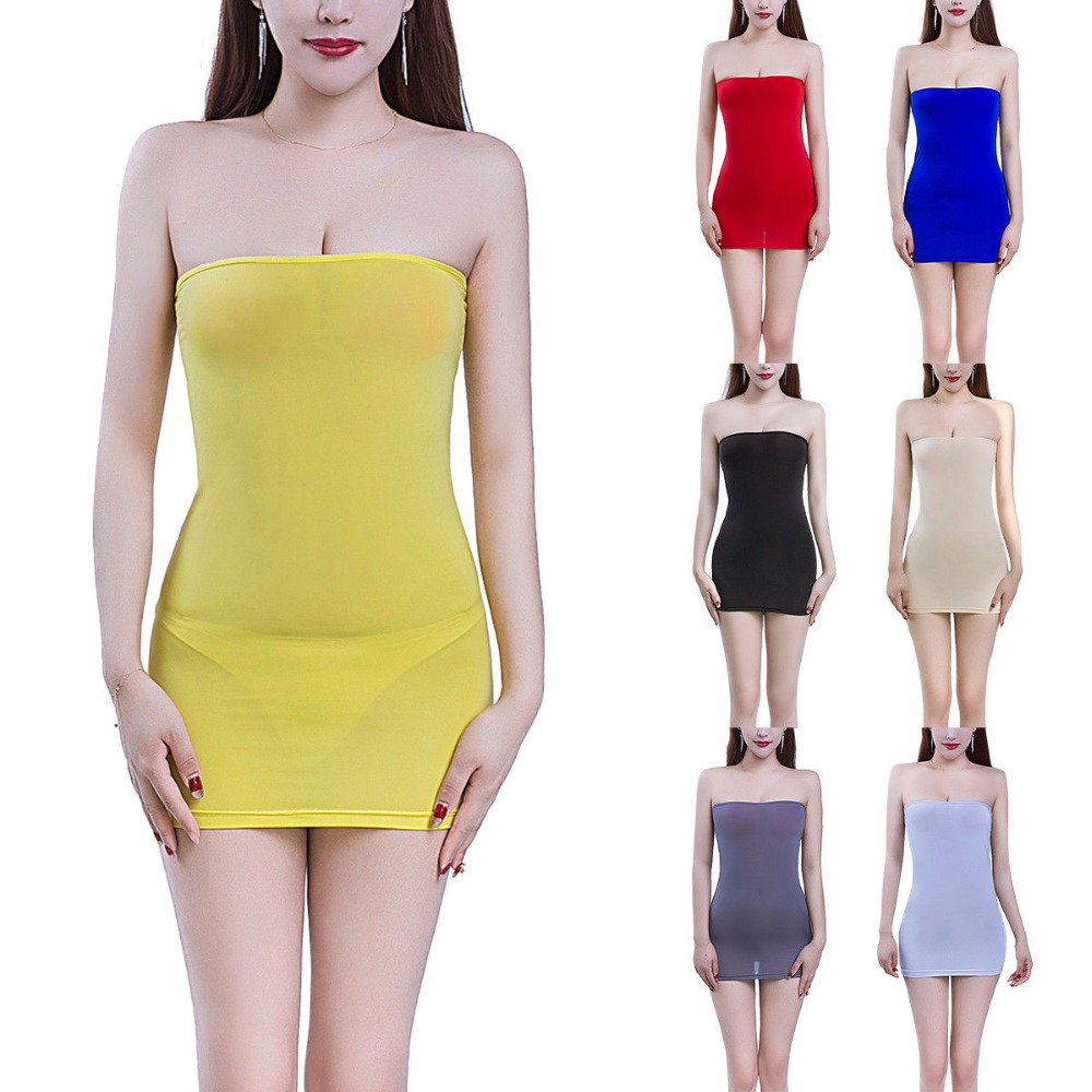 Women Sheer Mini Tube Strapless Party Dress Transparent Bodycon Nightclub