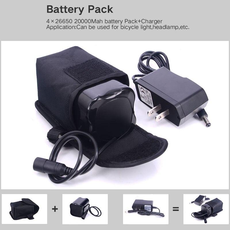 Bike Light 20000 mAh 4 x 26650 batterie 8.4 V pour SolarStorm X2 X3 T6 lampes + 8.4 V chargeur de batterie