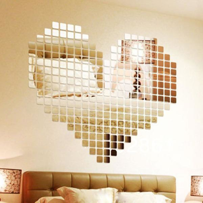 3D Silver Mosaic Mirror Wall Stickers Home Decor Bedroom Modern ...