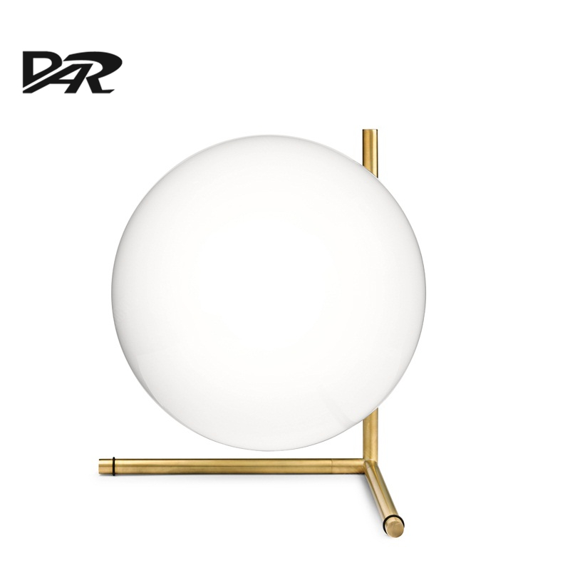 Nordic Art Design D20cm White Glass Ball Table Lamp Gold Iron Bedside Table Lamps For Bedroom LED Desk Lamp Lamparas De Mesa Hot america water pipe table lamp in loft industrial style led table lamps for bedroom living room abajur lamparas de mesa