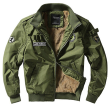 Air Force Bomber Jacket Military Mens Thicken Fleece Coat for Winter P6052
