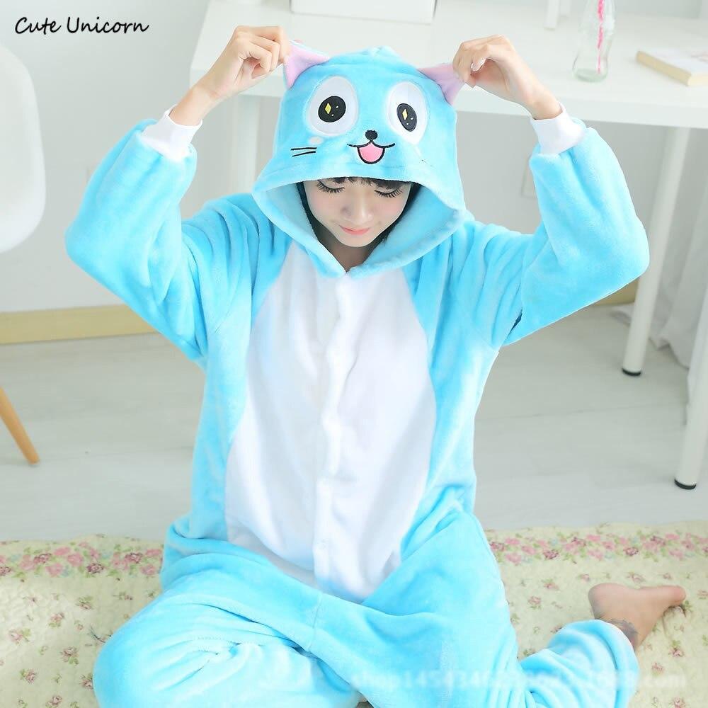 Cute Unicorn Fairy Tail Happy Cat cartoon animal Pajamas Winter Sleepwear pijamas unisex adults flannel Onesies Cosplay Costumes
