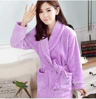 Women Bath Robe Flannel Solid Colors Nightgowns Spa Bathrobe Bath Robe Homewear Female Warm Kimono