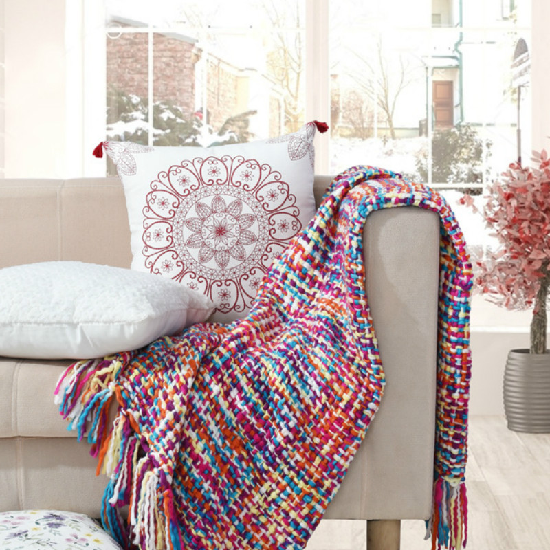 Fashion 100% Acrylic Crochet Blanket on Home Sofa Bed Covers 50X60 Inch Colorful Thread Throw Portable Winter Warm Blankets