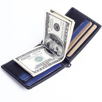 fe15dd593 Genuino Slim de cuero dinero clip cartera para hombres monedero con  bolsillo de la moneda de la identificación de la tarjeta de crédito ranuras  hombre bolsa ...