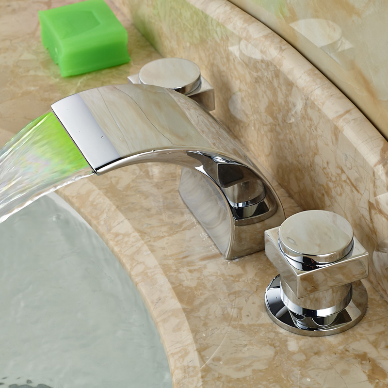 Luxury Widespread Waterfall Bathroom Taps Deck Mount LED Light Basin Mixer Faucet Chrome Finished