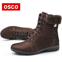OSCO Brand Women Boots Female Winter Shoes Woman Warm Snow Boots Fashion Suede Fur Ankle Boots Black Brown Size 36-41#42311P