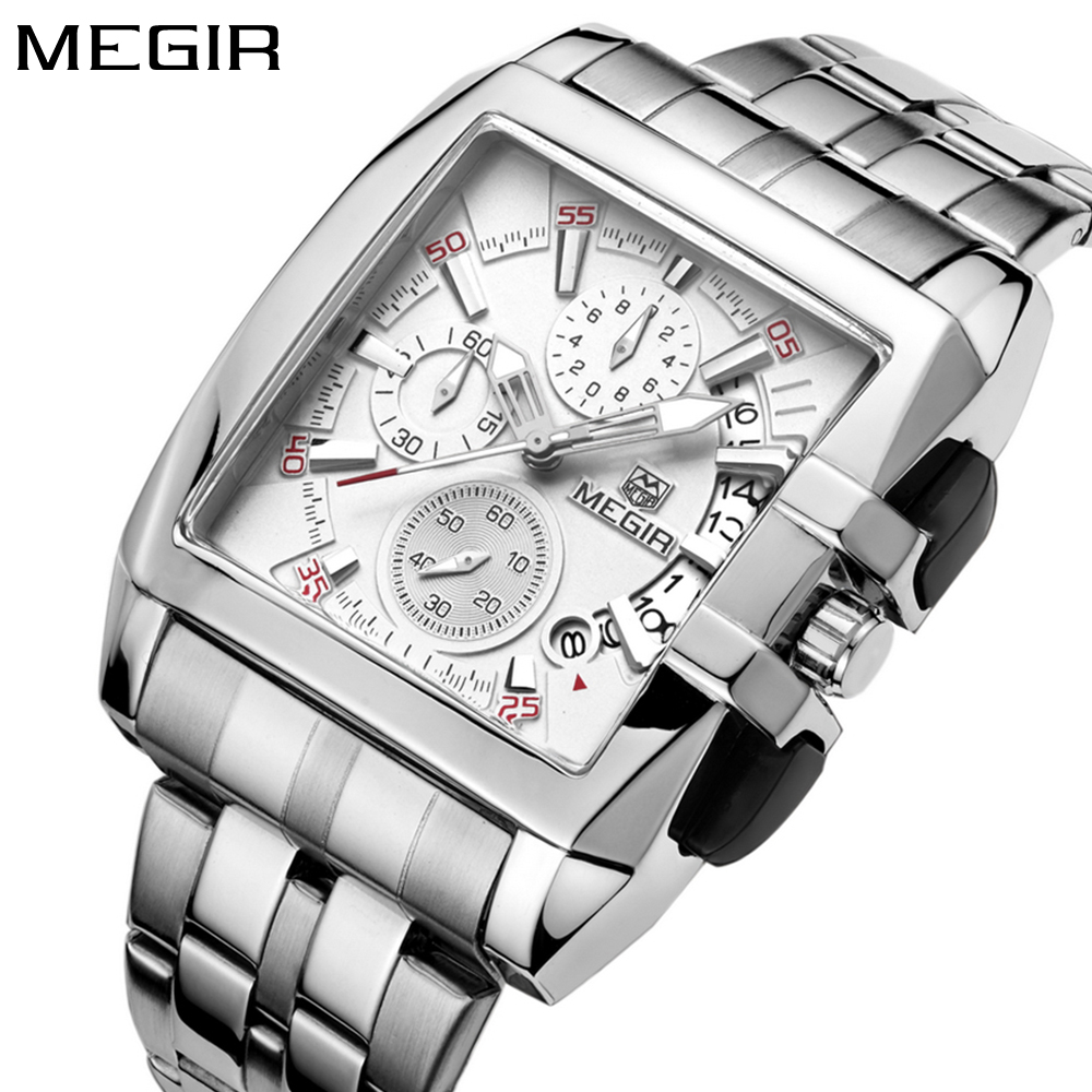 Original Big Dial MEGIR Men Watch Chronograph Quartz Stainless Steel Brand Clock Business Wrist Watch Luxury Men reloj hombre geneva men s large dial cool quartz stainless steel business wrist watch