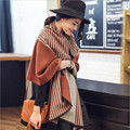 The new elegance vertical stripe double-sided cashmere scarves Ms. autumn and winter warm long shawl dual