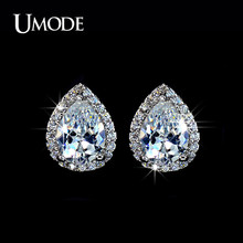 84957fdf4 UMODE Pear Shape Zirconia Waterdrop Post Stud Earrings for Women Fashion  Jewelry Brincos Pendientes Mujer Moda Oorbellen AUE0026