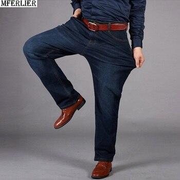 men jeans large size big 10XL Trousers office pants high waist Elasticity straight 7XL 8XL 9XL loose jeans autumn winter Stretch