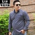 PLUS SIZE APENAS camisas dos homens casual xadrez de manga comprida vestido listrado Tamanho Grande 6Xl, camisa de algodão dos homens desgaste 3Xl-8XL Camisa overhemd
