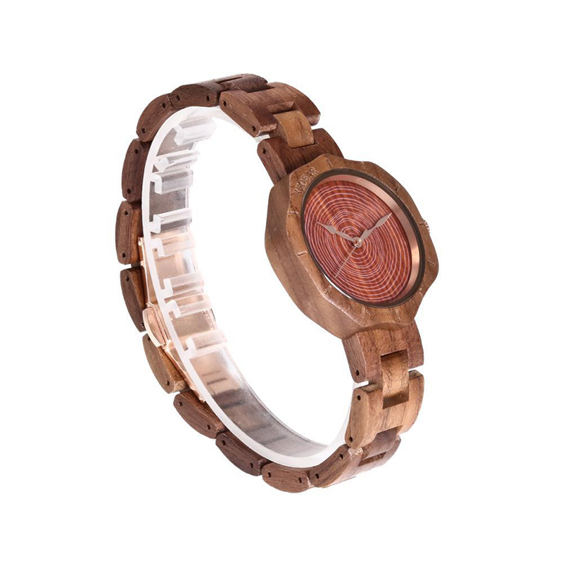 Wooden Quartz Watches Flower Shaped Dial Design Wristwatch Buckle Adjustable Watch LXH