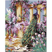 WEEN Beautiful Peacock DIY Framed Oil Painting By Numbers, Coloring By Numbers, Modern Wall Art Picture,Home Decoration 40x50cm rihe exquisite rose flowers framed oil painting by numbers coloring by numbers modern wall art picture home decoration 40x50cm