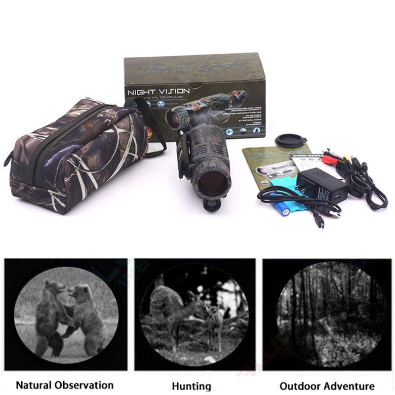 Camouflage 5X40 Powerful Infrared Spotlight Dark Night Vision Monocular Telescopes Scope Hunting Adjustable Eyepiece Telescopio цена