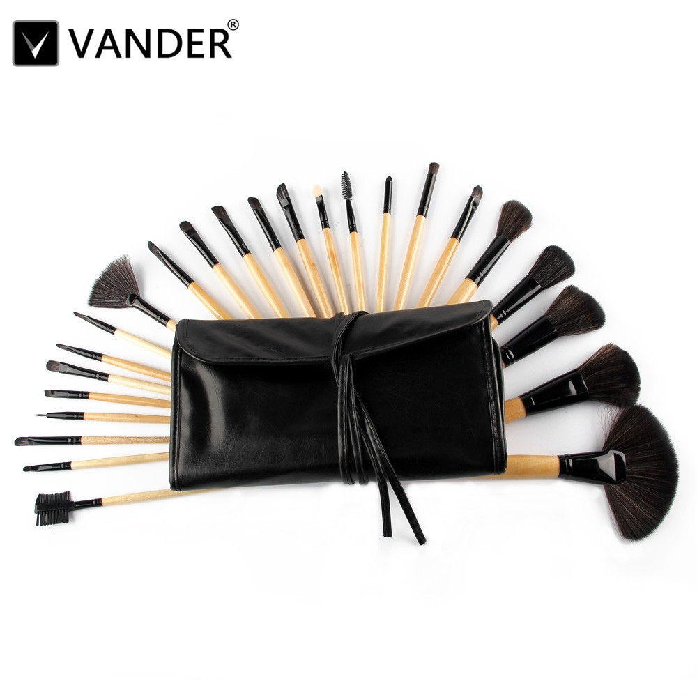 Vander Professional 24Pcs Makeup Brush Set Foundation Cosmetic Powder Multifunction Toiletry Brushes Make Up Kits w/ Pouch Bag