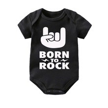 Culbutomind Born To Rock Black Cotton Short Sleeve Baby Bodysuit Boys Girls Clothes Funny Clothing Newborn Shower