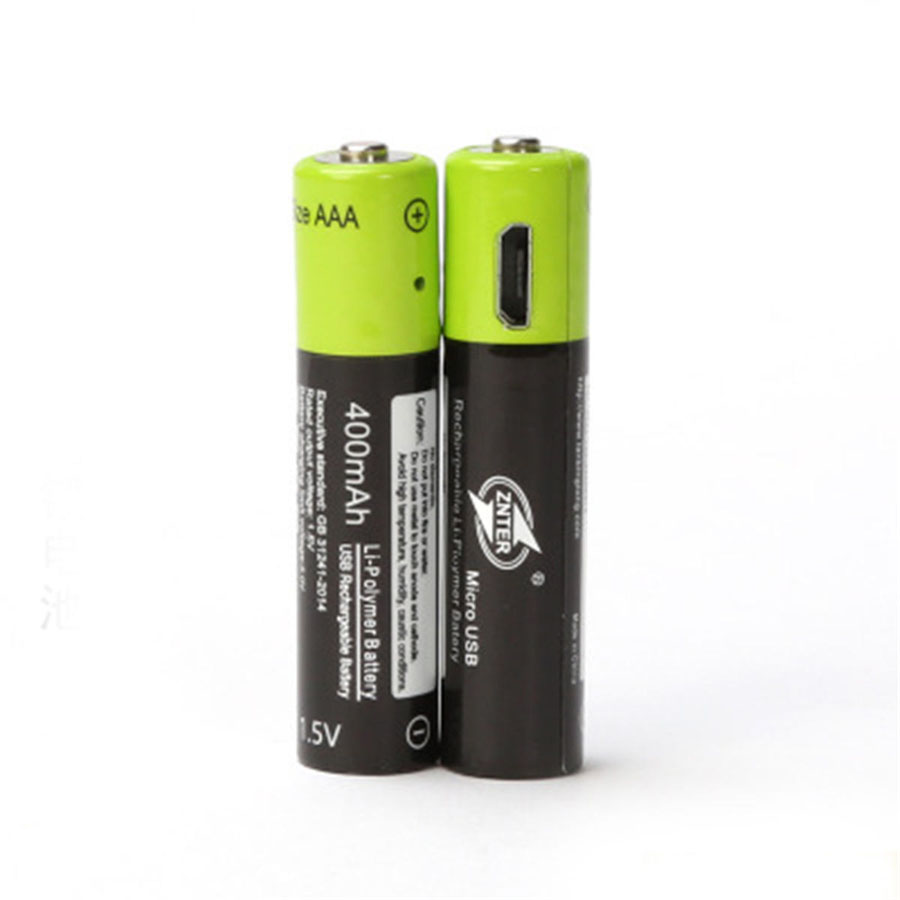 ZNTER AAA 1.5V 400mAh USB Rechargeable Battery Universal Lithium Polymer Batteries Bateria With Micro USB Cable image