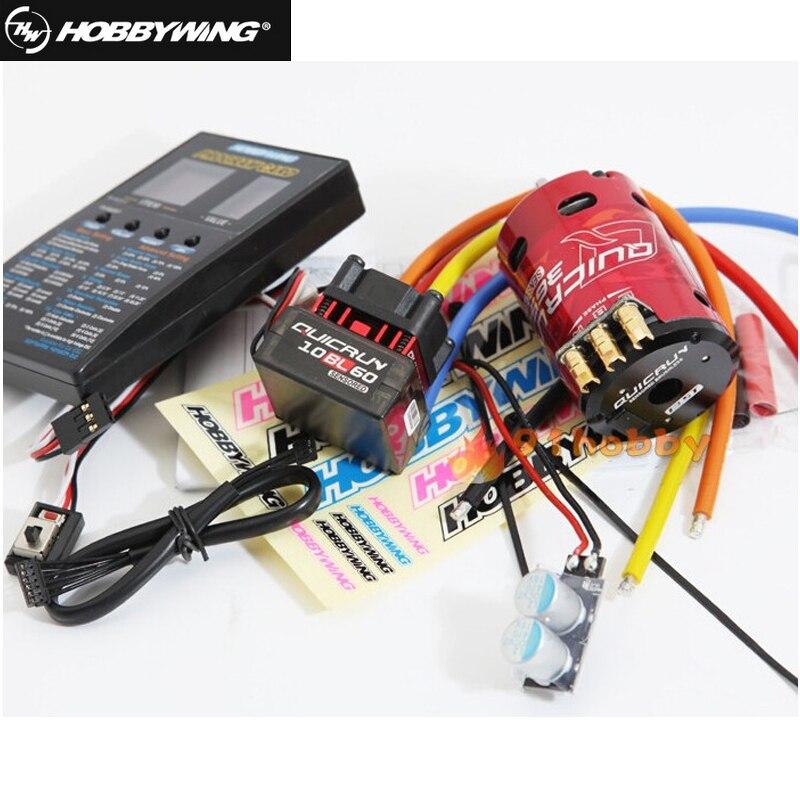 ФОТО 1pcs original hobbywing quicrun 10bl60 brushless speed controller 60a rc car esc + motor+ programe card wholesale