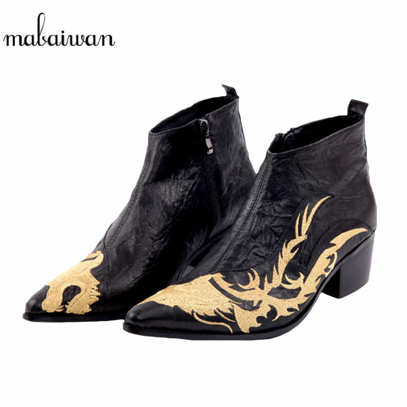 Mabaiwan New Dragon Embroidered Pointed Toe Men Black Ankle Boots Fashion Handmade Wedding Dress Shoes Men High Quality BootsMabaiwan New Dragon Embroidered Pointed Toe Men Black Ankle Boots Fashion Handmade Wedding Dress Shoes Men High Quality Boots