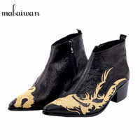 Mabaiwan New Dragon Embroidered Pointed Toe Men Black Ankle Boots Fashion Handmade Wedding Dress Shoes Men