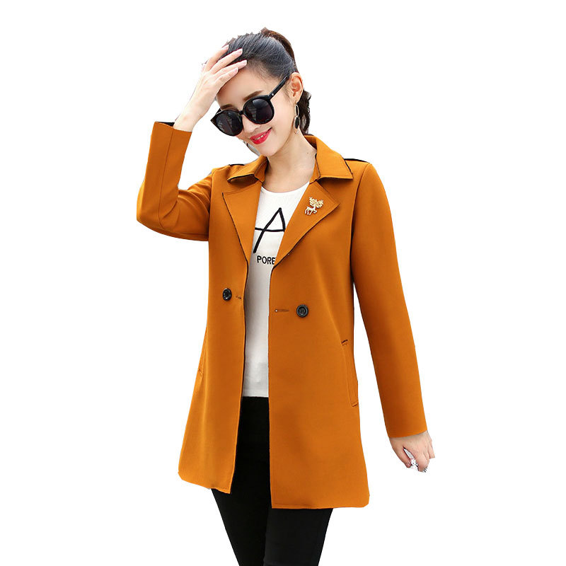 2019 new Korean Women's fashion loose Double Breasted   Trench   Coat Casual Spring Autumn Long brooch Windbreaker Coat Female v745