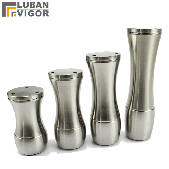 Brushed Silver Color Aluminum Furniture Legs Handle Adjule Height For Cabinets