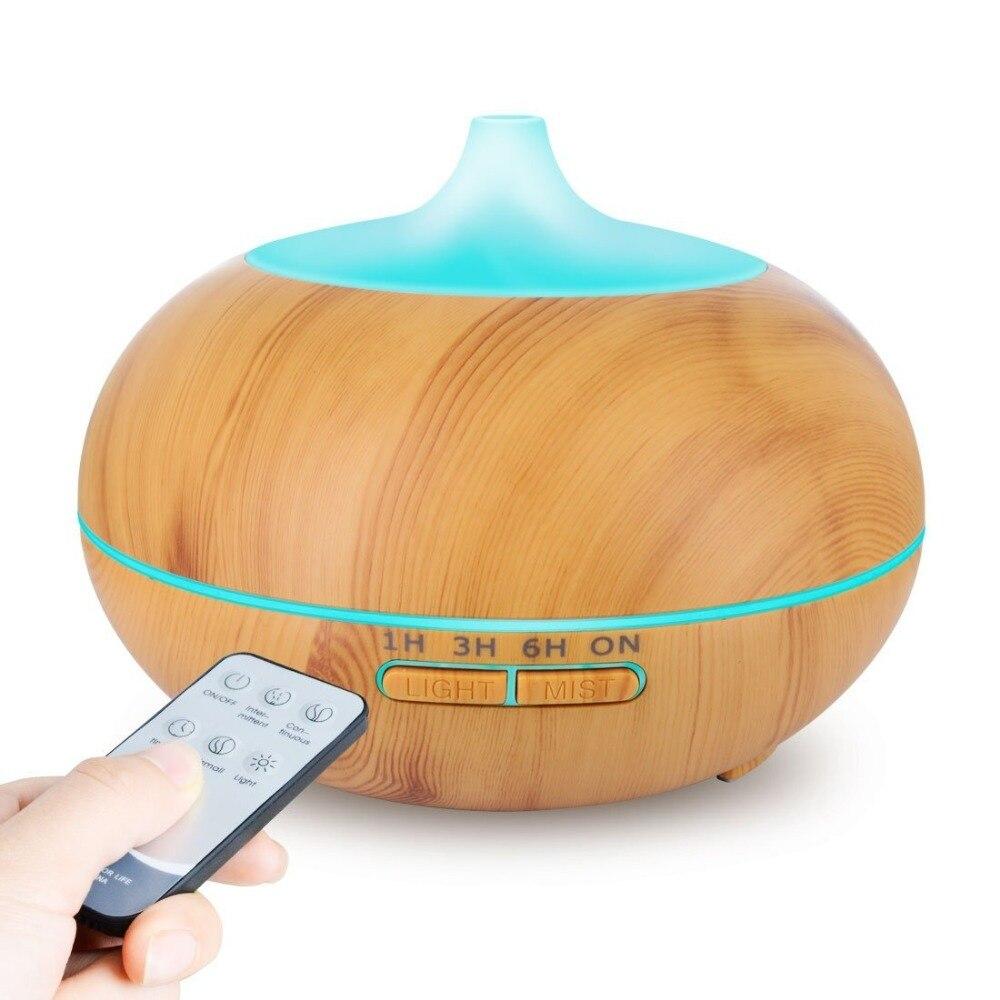 500 ml Aroma Difusor Óleo Essencial Umidificador de Ar Ultra com Grão de Madeira Elétrica Luzes LED Aroma Difusor para Home Spa