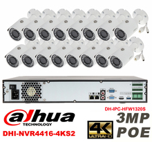 Dahua original 16CH 3MP H2.64 DH-IPC-HFW1320S 16pcs bullet IP security camera POE DAHUA DHI-NVR4416-4KS2 Waterproof camera kit