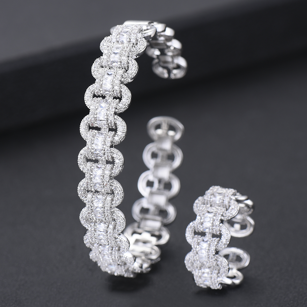 Image 2 - GODKI Luxury African Bangle Ring Sets Fashion Dubai White Bridal Jewelry Sets For Women Wedding brincos para as mulheres 2019Jewelry Sets   -