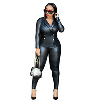 Winter Ladies Trouser Suits Women Black Leather Jacket Blazer and Skinny Legging Pants Suit Casual Party Two Piece Set Outfits
