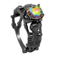 jingyang Skull Australia Punk Style CZ Black Gold Silver Color Rings For Women Wedding Fashion Jewelry Trendy Birthday Love Gift