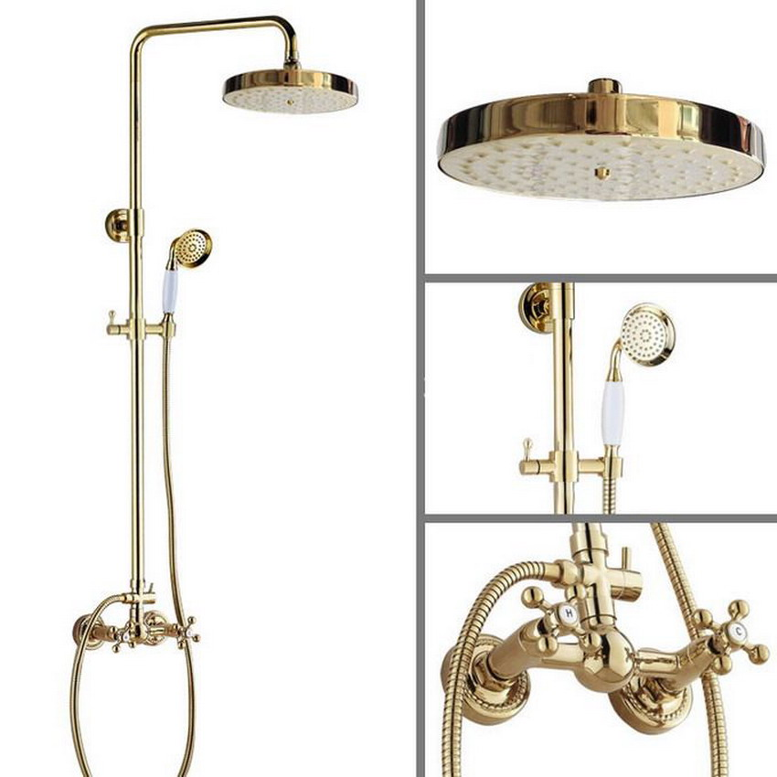 Two Cross Handles 7.7 Bath Rain Shower System with the Shower Head & Hand shower Set Faucet Mixer Tap Gold Color Brass agf335