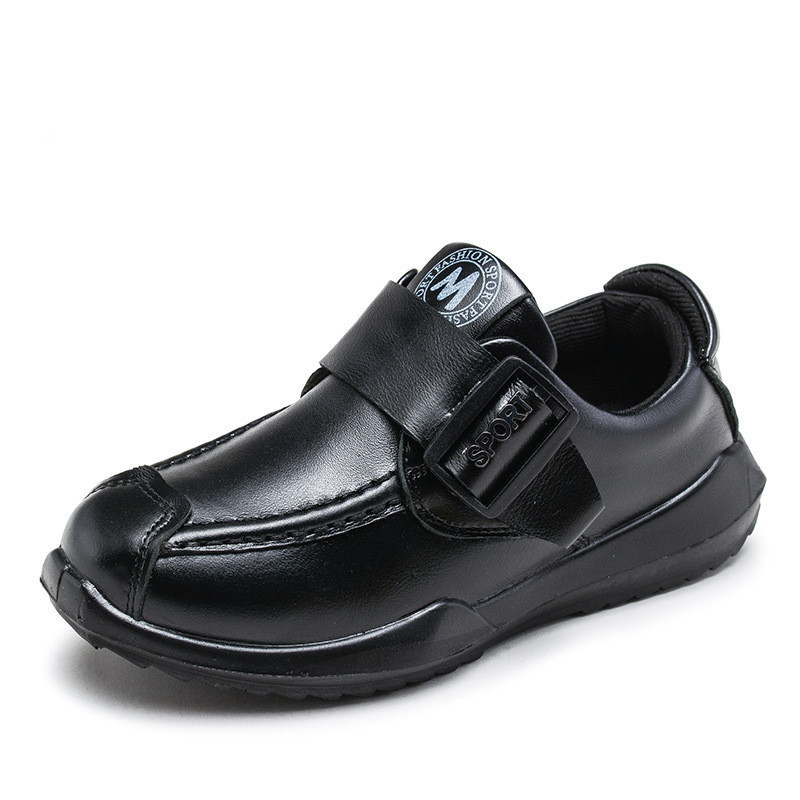 Genuine Leather Boys Shoes Matching Recreational Student Stylish Breathable Handsome British Style Black School Shoes Cowhide