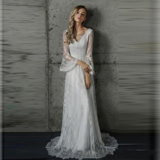 5a85eb922e20 Gorgeous Country Bohemian Wedding Dresses V Neck Sheer Bell Sleeves Open  Back Romantic Lace Boho Bridal Gowns vestio de noiva