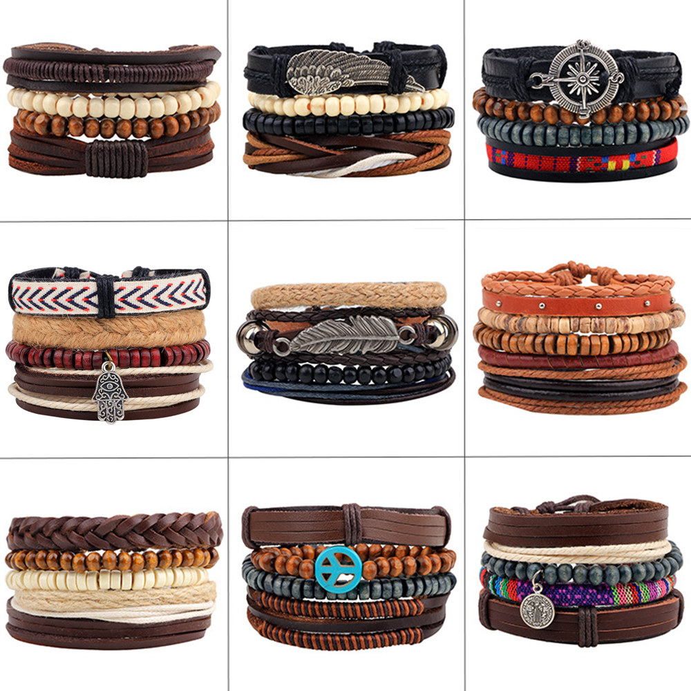 4pcs/set Handmade Boho Gypsy Hippie Black Leather Rope Cord Wing Hand Leaves Compass Charm Stackable Wrap Bracelets for Man