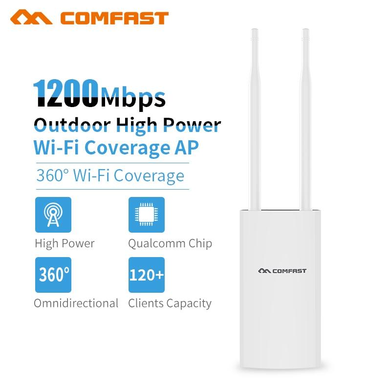 COMFAST 1200Mbps Gigabit Wireless AP Network bridge outdoor Wifi Base Station 2*5dbi Antenna Wi fi Repeater Signal Amplifier comfast cf wu881nl usb 2 0 network card w external 5dbi antenna black