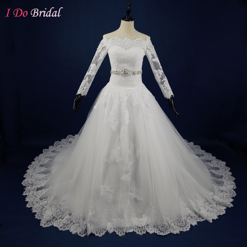 Real Photo Vintage Bridal Dresses Ball Gown Lace Long