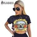 2017 NEW Guns N' Roses Print Women Summer T-Shirt GNR Music Fashion Punk Rock Cut Out Ripped Hole T Shirt Hip Hop Crop Tops Tees