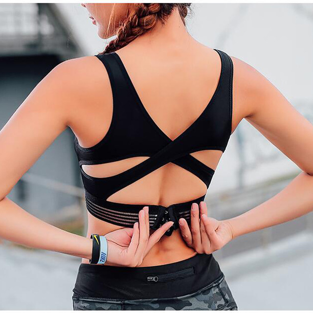 8282acfa635ce Sujetador deportivo de espalda X para mujer sujetador de Yoga suave  sujetador de entrenamiento acolchado para