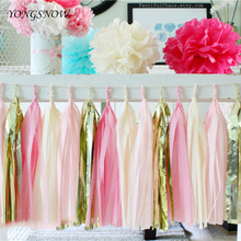 5Pcs 12*35cm Tissue Paper Tassel Garland DIY Fringe Pom Pom Bunting Banners for Wedding Decoration Baby Shower Kids Party Favors