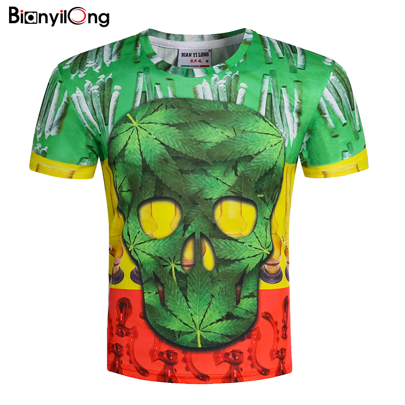 BIANYILONG Brand Flower T shirt Green Leaves Tops Weeds Shirts Fashion Clothes Tees Men 3d T shirt Mens Tee Cool skull