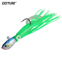 Goture 50g 14cm Slow Jigging Fishing Lure Jig Head Squid Lure With Silicone Skirt 10 Color Available 1 pcs