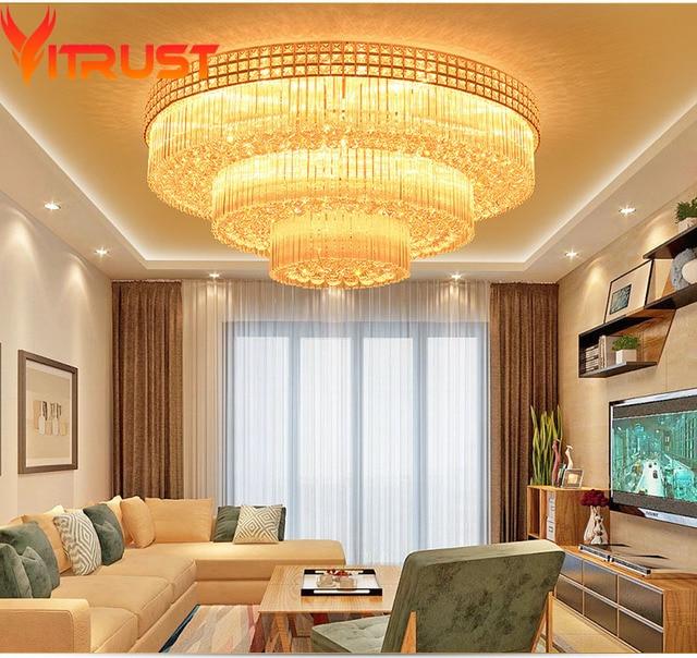Golden Crystal Ceiling Lamps Circle Home Lighting luminaire led plafond lustre de cristal teto Living Room.jpg 640x640 5 Unique Luminaire Led Plafond Pkt6